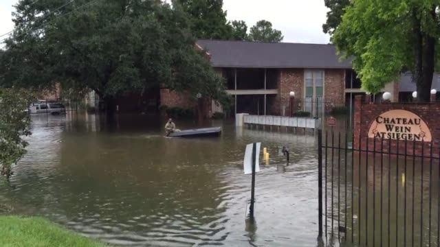 Flooded apartment complex off Siegen Lane in Baton Rouge near Wards Creek
