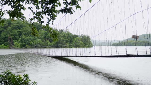 郊外では、水の上のロープの橋に殺到しました。 - ダメージ点の映像素材/bロール