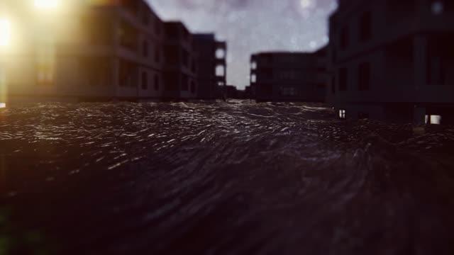 夜の津波による洪水の間に住宅街が浸水した - 洪水点の映像素材/bロール