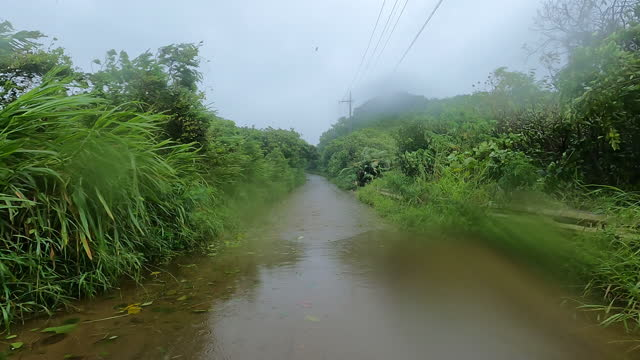 flooded roads on ishigaki island in japan as typhoon infa drops heavy rain - dirt track stock videos & royalty-free footage