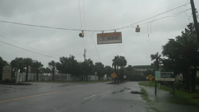 flooded street is seen as hurricane dorian started to be effective in charleston, south carolina, united states on september 5, 2019. - charleston south carolina stock videos & royalty-free footage