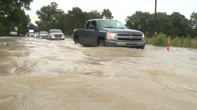 WGNO Flooded Streets and Church During Historic Louisiana Flooding near New Orleans on August 15 2016