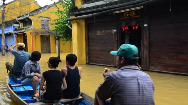 flooded streets, hoi an, vietnam - nautical vessel stock videos & royalty-free footage