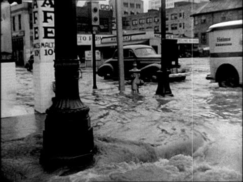 Flooded town parked cars half submerged in water cars driving through flooded city streets man waterskiing through town and towed by car Flooding in...