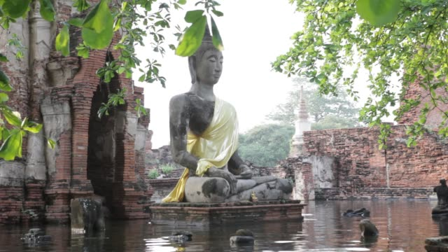 a flooded wat mahathat in ayutthaya's historic park going through by boat thailand flood gv at wat mahathat on october 21 2011 in ayutthaya thailand... - bronek kaminski stock videos & royalty-free footage