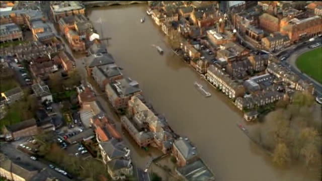flooding across england and wales; air views flooded river ouse through york and surrounding countryside - river ouse stock videos & royalty-free footage