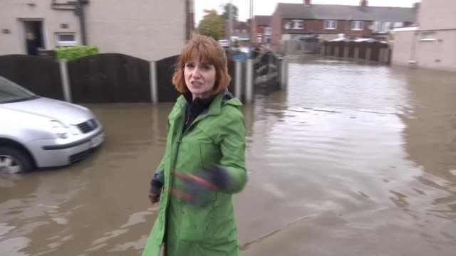flooding across parts of england after a month's worth of rain falls in one day uk yorkshire sheffield doncaster flooded streets with houses... - übersichtsreport stock-videos und b-roll-filmmaterial