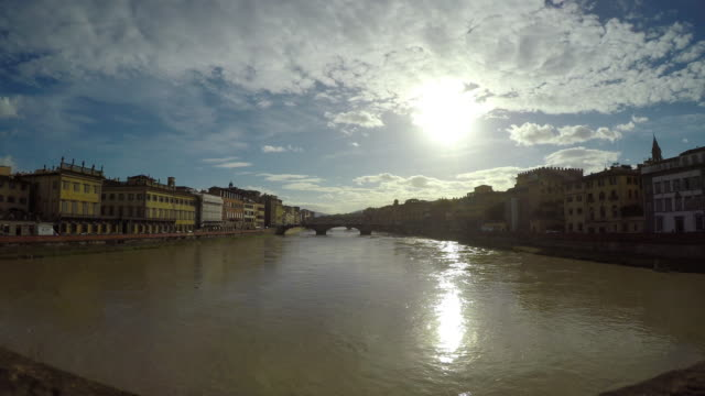 Flooding Arno river in Firenze, Tuscany