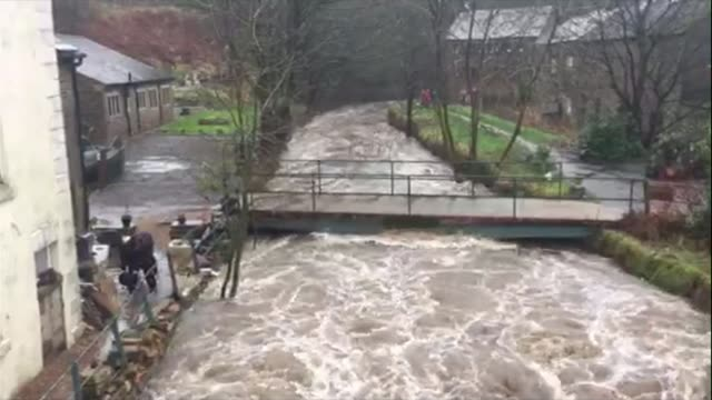 fastflowing river and people attempting to bail out flooded house location unknown sheep surrounded by floods swollen river - umgeben stock-videos und b-roll-filmmaterial
