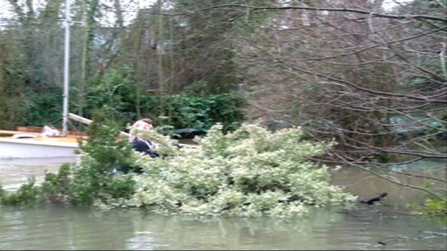 surrey sunburyonthames residents wading through knee high floodwater people pulling possessions along in boat on flooded street richard stephenson... - human limb stock videos & royalty-free footage