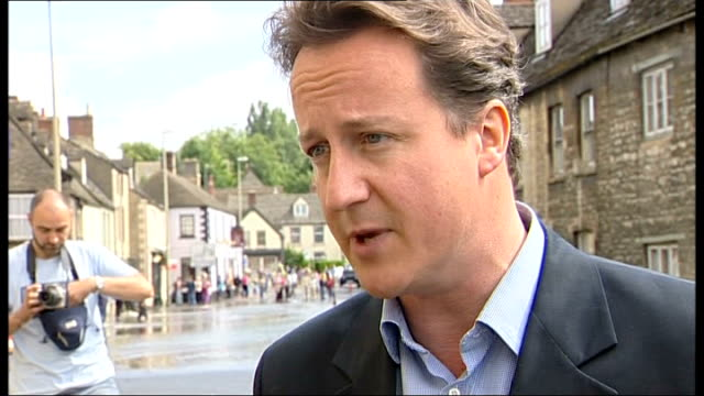 large areas of britain badly affected: political response; david cameron mp interview sot - questions we need to ask is why was flood defence budget... - last stock videos & royalty-free footage