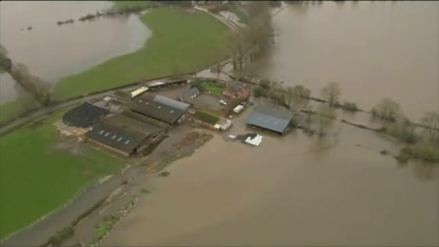 owen paterson criticised during visit to somerset air view / aerial flooded landscape in somerset levels - somerset levels stock videos and b-roll footage