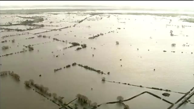 owen paterson criticised during visit to somerset england somerset view / aerial flooded landscape in somerset levels - somerset levels stock videos and b-roll footage