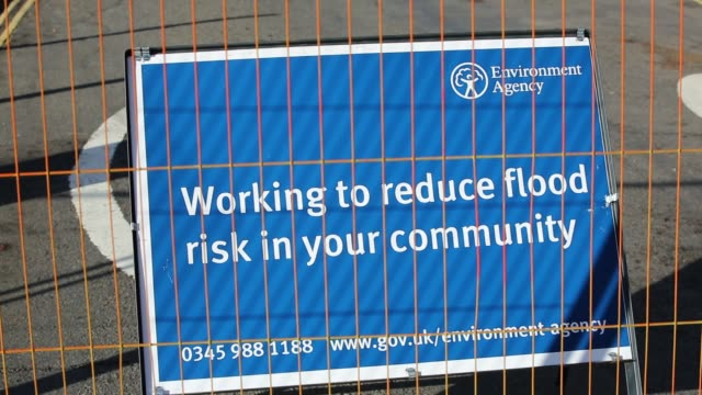 flooding sign in ironbridge in shropshire, where the river severn was in severe flood conditions after the wettest february on record in the uk,... - ironbridge shropshire stock videos & royalty-free footage