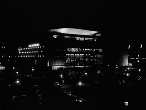 floodlights illuminate the exterior of the royal festival hall - royal festival hall stock videos & royalty-free footage