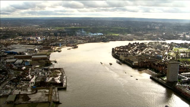 aerials of riverthames from central london through west london and buckinghamshire; england: london: ext air views river thames from central london... - embankment stock videos & royalty-free footage
