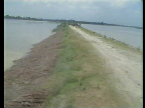 pullakandi airv flooded fields as flood water receding airv fields partly submerged under water airv fields buildings under receding flood water airv... - flussufer stock-videos und b-roll-filmmaterial