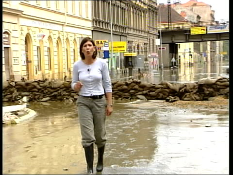floods; czech republic: prague: i/c int gv woman sweeping flood water out of house entrance hall ext bv men checking basement floor looking thru... - prague stock videos & royalty-free footage