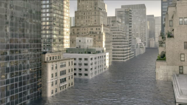 floodwater nearly reaches the tops of new york city skyscrapers in a computer-generated animation. - underwater stock videos & royalty-free footage