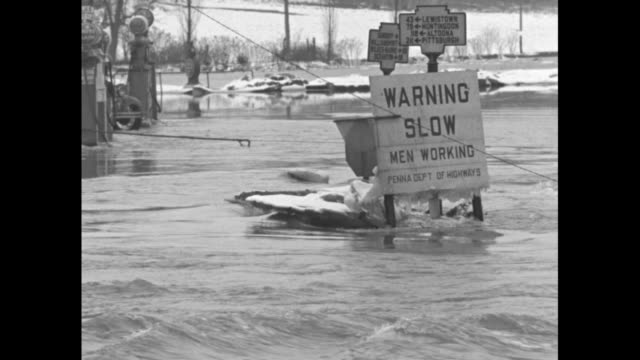 floodwater rushing through trees over road / floodwater rushing around road sign saying warning slow men working / man bending over and pushing... - plunger stock videos and b-roll footage
