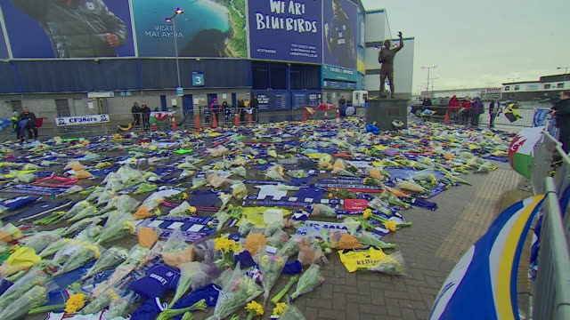 Floral and football tributes left outside Cardiff City Stadium in tribute to Emiliano Sala