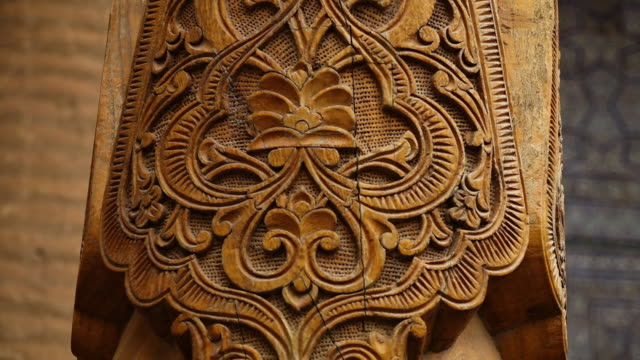 floral design on a carved wooden pillar - intricacy stock videos & royalty-free footage