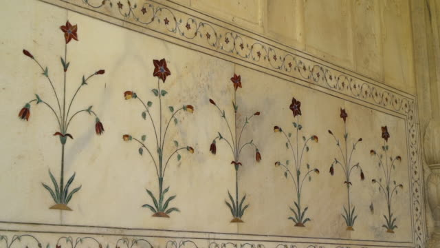 floral detail on the walls of the diwan-i-khas. - architecture stock videos & royalty-free footage