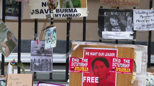 floral tributes outside myanmar embassy in london, for the people that have died in the military coup in the country - monument stock videos & royalty-free footage