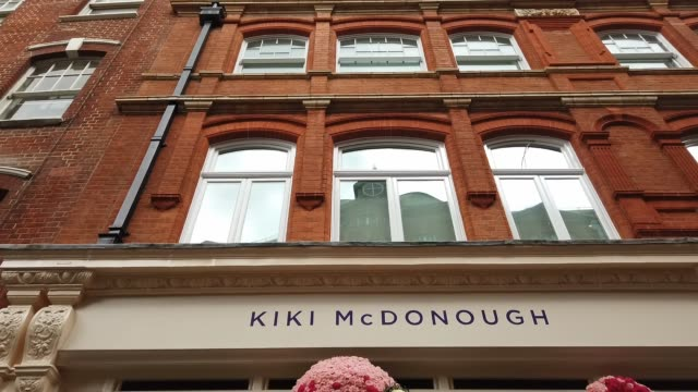 A floral window display in the window of the Kiki McDonough store near Sloane Square as businesses unveil this years creations in support of the...