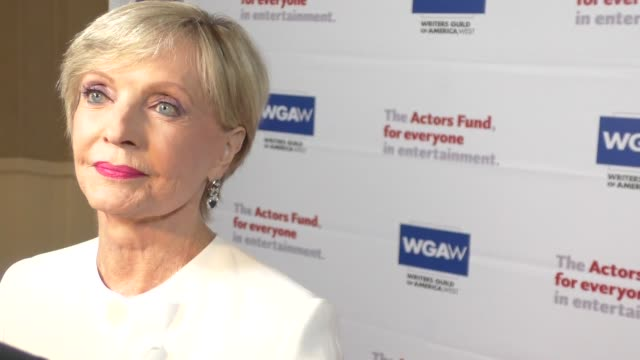 interview florence henderson talks about acting unions at the actors fund's tony awards viewing gala at the beverly hilton hotel in beverly hills at... - 70th annual tony awards stock videos and b-roll footage