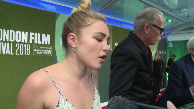 florence pugh on thigh highs, following up to the night manager, her character and making tea on october 14, 2018 in london, england. - menschliches körperteil stock-videos und b-roll-filmmaterial