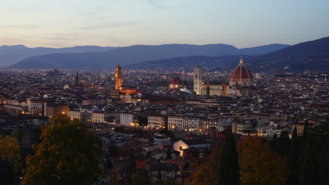 florence skyline from day to night timelapse - florence italy stock videos & royalty-free footage