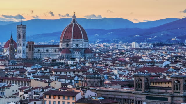 4K Florence skyline Tuscany Italy Cathedral of Santa Maria del Fiore Time-lapse sunset