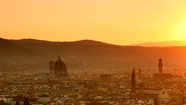 florence sunrise views - duomo santa maria del fiore stock videos and b-roll footage
