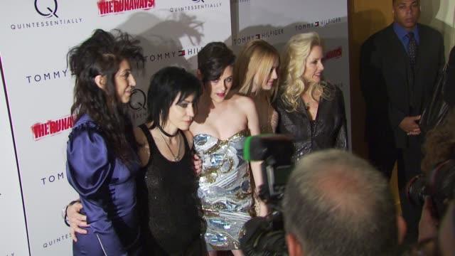 Floria Sigismondi Joan Jett Kristen Stewart Dakota Fanning and Cherie Currie at the 'The Runaways' New York Premiere at New York NY