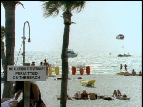 Florida Beach Scene with 'No Alcoholic Beverages Permitted' Sign