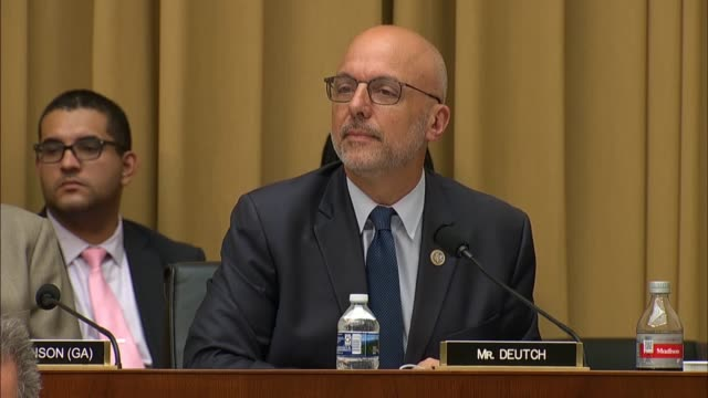 florida congressman theodore deutch asks fbi director christopher wray in a house judiciary committee hearing on 2016 investigations about fbi... - christopher a. wray stock videos & royalty-free footage