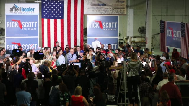 florida governor and republican senatorial candidate rick scott addresses the crowd as he attends a get out the vote rally at amerikooler on november... - hialeah stock videos & royalty-free footage