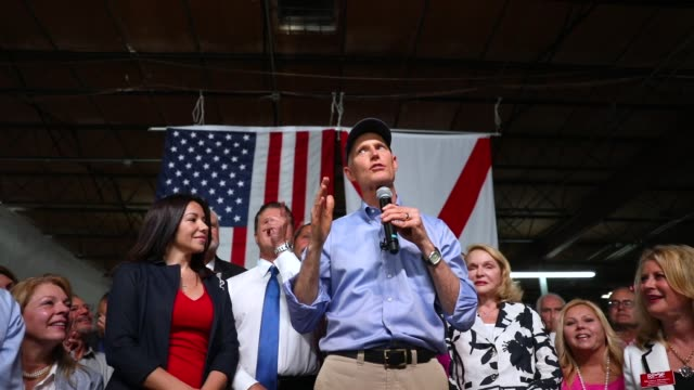 florida governor rick scott addresses supporters as he holds a senate campaign rally at the interstate beverage corp on april 10 2018 in hialeah... - hialeah stock videos & royalty-free footage
