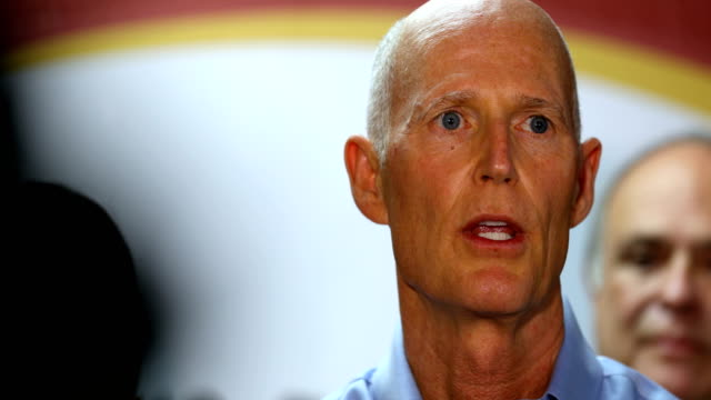 florida governor rick scott speaks to the media at restaurant el arepazo 2 after holding a bill signing ceremony for legislation to prohibit all... - doral stock videos and b-roll footage