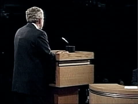 Florida Miami INT BV US President George W Bush at podium during first TV presidential debate with Sentor John Kerry ZOOM IN to square shaped bump...