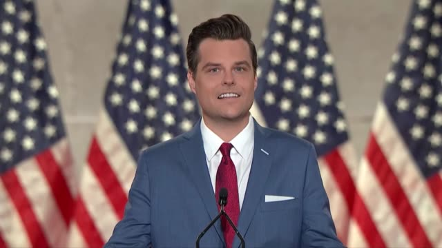 florida representative matt gaetz says in remarks to the 2020 republican national convention that woke topians would settle for joe biden because... - hollywood florida stock videos & royalty-free footage
