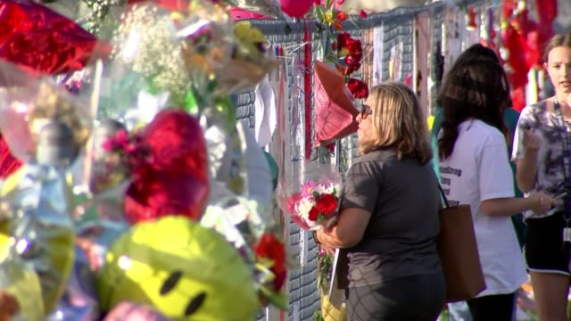 donald trump says he would have confronted gunman tx florida parkland marjory stoneman douglas high school ext various of floral tributes outside... - controllo delle armi da fuoco video stock e b–roll
