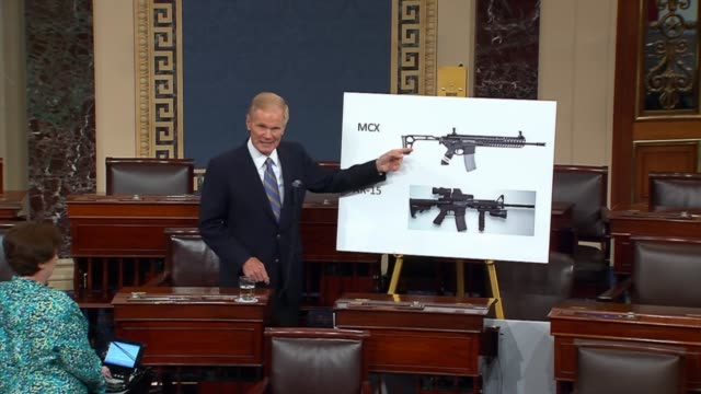 florida senator bill nelson asserts himself as the senator from florida and the senator from orlando nelson uses a graphic with two popular... - controllo delle armi da fuoco video stock e b–roll