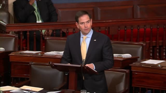 Florida Senator Marco Rubio follows a discussion of abuse of the benefit system of the United States by Cuban citizens to mark the 55th anniversary...