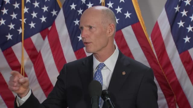 vídeos de stock, filmes e b-roll de florida senator rick scott tells reporters at a press stakeout outside a senate republican caucus meeting after weeklong protests and rioting related... - martin luther: his life and time