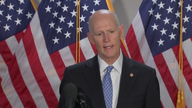 florida senator rick scott tells reporters at a press stakeout outside a senate republican caucus meeting after weeklong protests and rioting related... - refraction stock videos & royalty-free footage