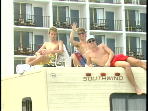Guys Hanging Out on Top of a RV
