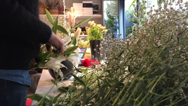 florist arranging flowers - differential focus stock videos & royalty-free footage