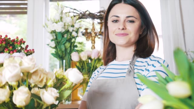 florist portrait. - flower shop stock videos and b-roll footage